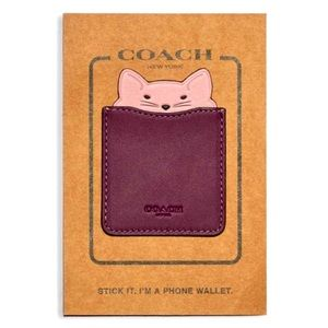 COACH Leather Phone Stick-on Card Pocket